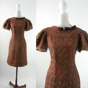 Vintage 1950s brown lace dress by Ellen Kaye